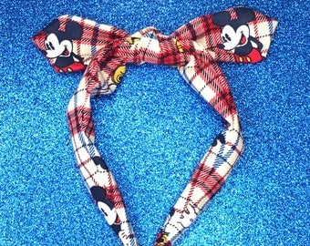 Mickey Mouse Flannel Top Knot Headband