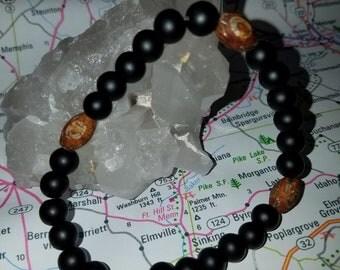 Men's matte black onyx bracelet