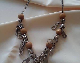 Zipper necklace - Wooden Beats - Zipper Jewelry - Valentines Gift