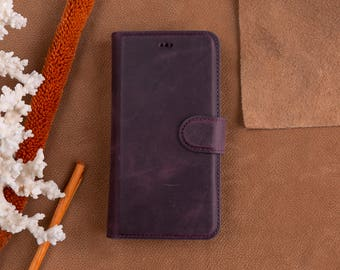 iPhone X Leather Wallet Case, iPhone X Detachable Case, iPhone X Wallet Case, Leather iPhone X Case, Magnetic Case, iPhone X Purple Case