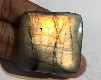 71.2 Cts 100% Natural Medagascar's Labradorite Cabochon Yellow Fire Polished Cabochon Healing Quartz Baguette Shape 34x32x6 mm N#1477-47