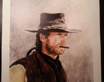 Clint Eastwood Giclee Print by Cindy Sutter, Signed and Numbered, Limited Edition of Only 25 Prints