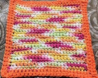 Summer Multicolor 100% Cotton Washcloth or Dishcloth with Orange Border