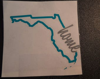"""State of Florida vinyl decal with """"home"""""""
