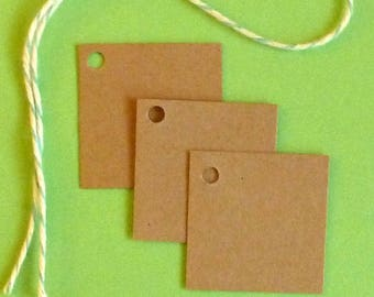 100 square tags jewelry tags mini tags kraft tags w string price tags hang tags boutique tags blank tags craft supplies merchandise tags
