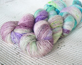 As You Wish - Hand Dyed Speckled Yarn - Superwash Merino Singles - Blue Green Lilac Pink