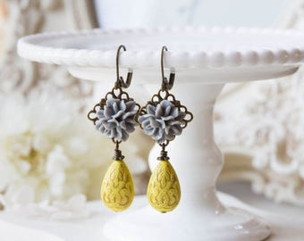 Grey and Yellow Earrings, Grey Flower Yellow Teardrop Bead Dangle Earrings, Grey and Yellow Wedding, Victorian Style, Leverback earrings