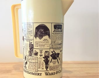 Montgomery Ward Catalog Water Pitcher / Vintage Kitchen Plastic Pitcher / Antique Newspaper Advertisement Water Jug