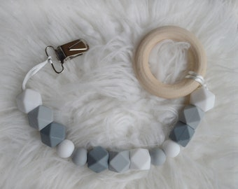 Gray & White Teether Clip