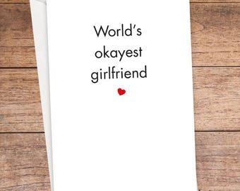 World's Okayest Girlfriend Card
