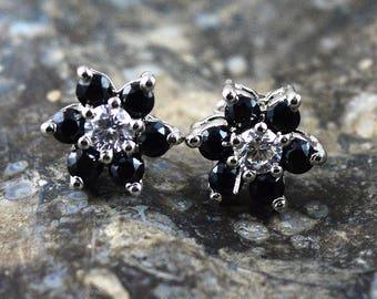 Dark Blue Sapphire Stud Earring-925 Sterling Silver Stud-Flower Silver Stud Earring Jewelry-Blue Sapphire Gemstone Tops Stud Zircon  Earring