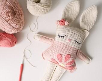 Crochet Bunny! Kids Room Decor Photo Prop for little Girl, Newborn Gift, Baby shower gift, Baptism Gift