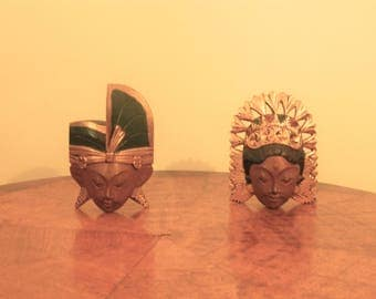 Balinese Wedding Couple a Set of two (2) Face Wall Hanging Masks