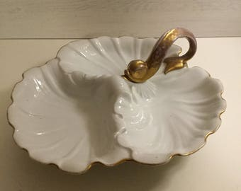 Limoges, Three shell, Gold Fish Handle, Compartment Service Dish
