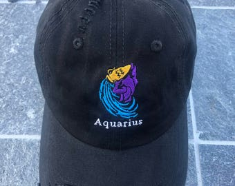Aquarius  Zodiac Sign Embroidered Dad Hat