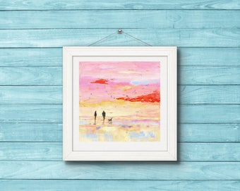 "Fine Art Print. Couple on the Beach.""Winter Beach Walk with the Dog"". Romantic Print from Original Painting. Modern Art."