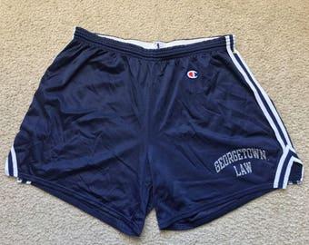 Men's Vintage 90s Champion Georgetown Law Blue Mesh Shorts Size Xl