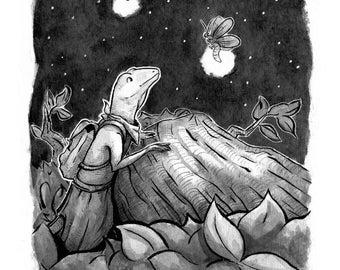 Tiny Adventurer - Inktober Print - Traveling Lizard