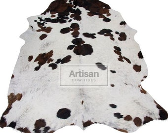 Tricolor Spotted Cowhide Rug - Premium 100% Natural Tricolor Cowhide Rug - Large 7X6 RUG
