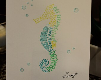 hand drawn inspirational word art sea horse with sparkly bubbles