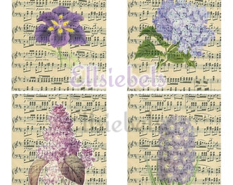 Vintage Botanical and Music Journal Cards, Vintage Ephemera, Vintage Journal Cards, Junk Journal, Digital Journal Kit, Digital Ephemera