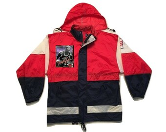 Chicago bulls Jacket Windbreaker hoodie NBA Michael Jordan Vintage - Sz L-XL