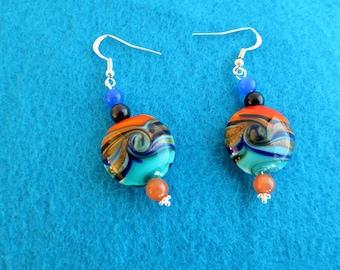 Swirled glass earrings