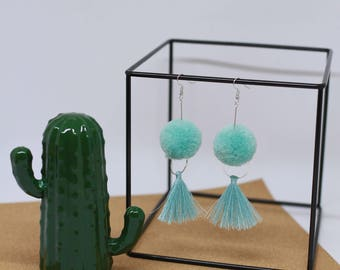 Mint Pom Pom earrings