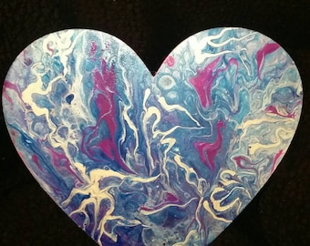 Acrylic fluid pour on wood heart.
