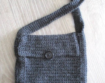 shaman bag, crochet grey purse, handmade crochet bag, handmade grey purse, handmade grey bag, crochet day bag, small crochet bag, crochet