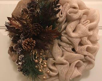 Gold Bronze Burlap Christmas Wreath