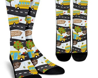 Back to School Socks 1, Custom Printed Socks, Novelty Socks, Cute Socks