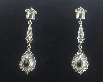 Sterling Silver Drop Earrings Small Rectangle and Pear Shaped Black Onyx Filigree Design Long Drop Victorian Studs