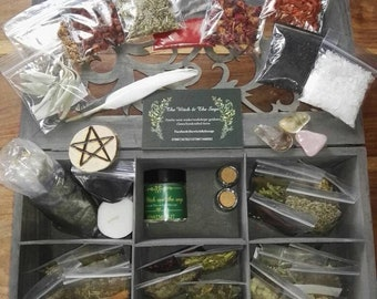 Large Wooden spell chest, witchcraft, altar accessories, magic, herbs