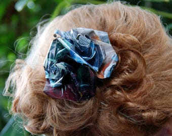 Oragami Comic book Rose Hair clip
