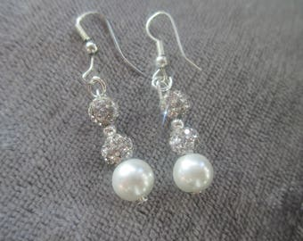 Ivory and shamballa beaded drop earrings