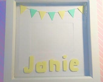Personalised Box Frame with Bunting, Handmade, Photo Frame, Gifts for Her, Baby Girl, Birthday Gift