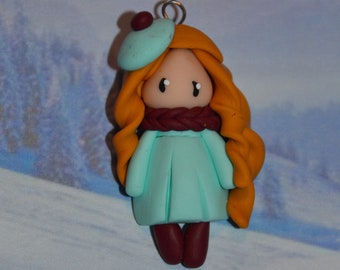 Baby pastel green dress, golden hair - winter Collection - jewelry polymer clay handmade