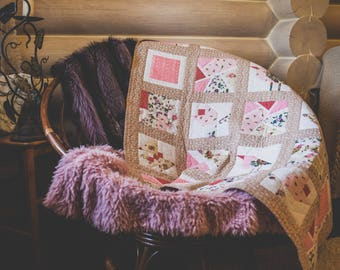 baby blanket,quilt,gift of goddaughter,handmade gift,daughter's gift,gift for a teenager,patchwork,birdies,chebbyshik,blanket for a girl