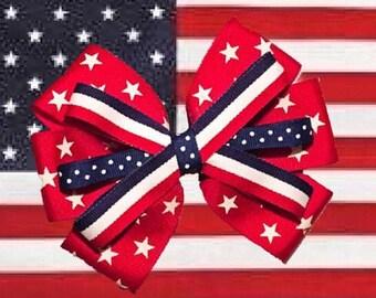 Red Stars Patriotic American Hair Bow