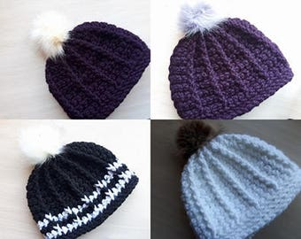 Handmade hat with faux fur pompom