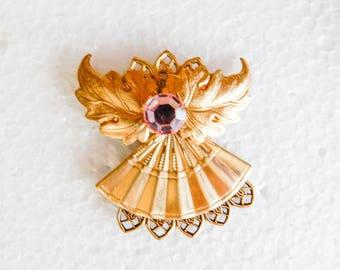 Gold tone Angel Pin w/ crystal