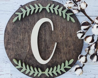"""Wood Name Sign l 15"""" l Leaf Design 2"""