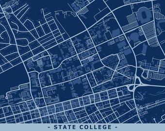 State College PA Street Art Map - Penn State