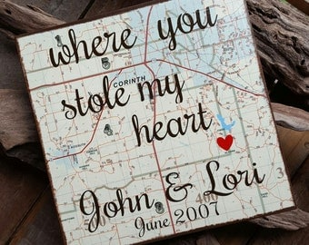 Handmade ~ Custom map art ~ Wood ~Where you stole my heart ~ Where it all began ~ Personalized ~ Unique gift idea ~ Wedding ~ Anniversary ~