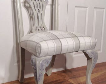 Chippendale Style Dining/Occasional/Hall/Bedroom Chair/Seat/Laura Ashley Fabric/Grey/Purple