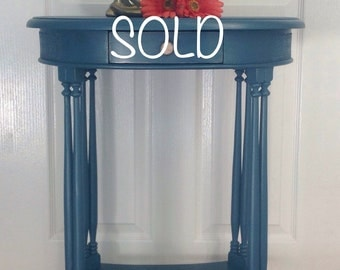 SOLD SOLD   Side, Oval, Bedside, Teal, Blue