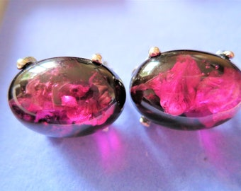 Pair of vintage 1960s luminescent lucite clip on earrings