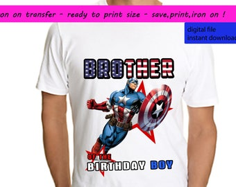 Captain America, Captain America Iron On Transfer, Captain America Brother, Captain America Shirt, Superhero, Instant Download, Digital File