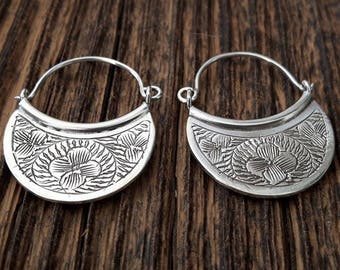 Engraved flat silver hoops